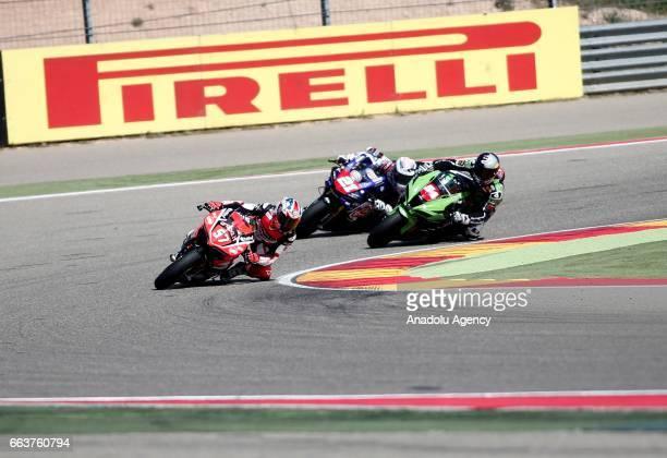 Toprak Razgatlioglu Mike Jones and Florian Marino competes in Superstock 1000 Championship's 3th Leg at the Aragon track in Alcaniz Spain on April 2...