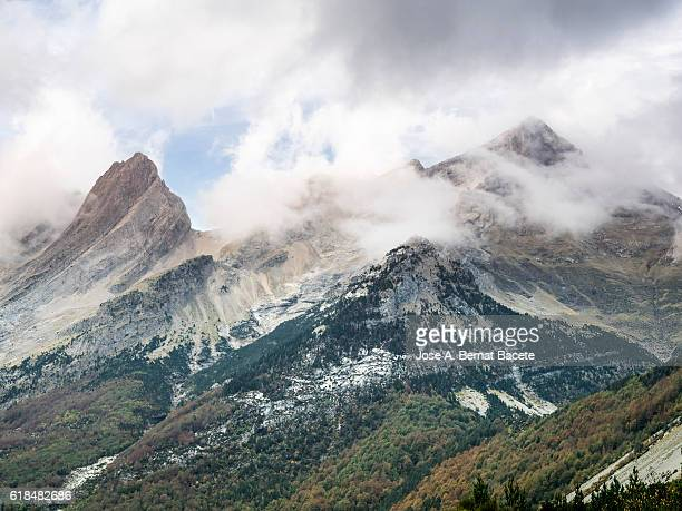Tops of high mountain in autumn with a climate of storm