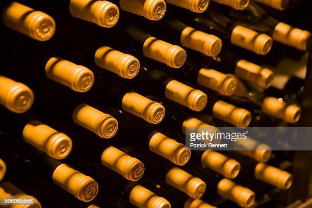Tops of Wine Bottles in Cellar at Bodega Catena Zapata