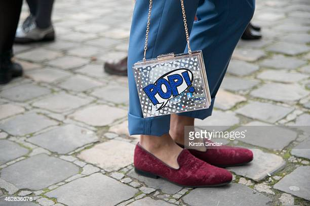 Topshop Pop Handbag on day 3 of Paris Haute Couture Fashion Week Spring/Summer 2015 on January 27 2015 in Paris France