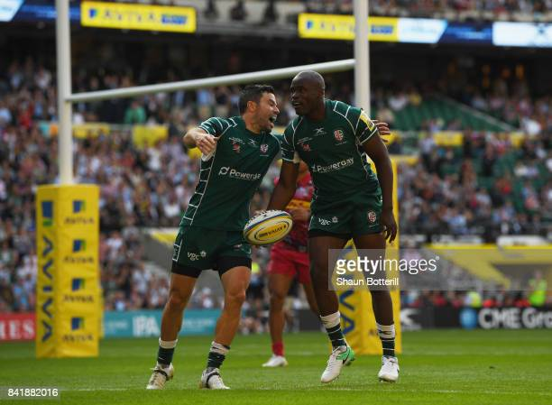 Topsy Ojo of London Irish celebrates as he scores their first try during the Aviva Premiership match between London Irish and Harlequins at...