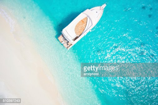 topview yacht in tropical lagoon