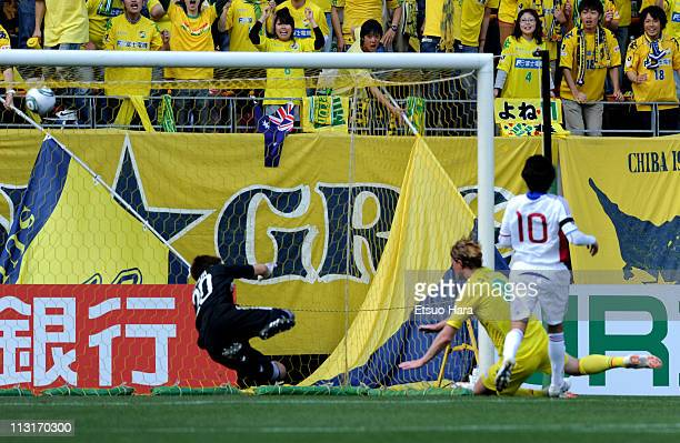 Tor Hogne Aaroy of JEF United Ichihara Chiba scores the third goal during JLeague Division 2 match between JEF United Ichihara Chiba and FC Tokyo at...