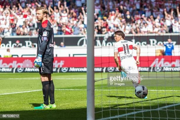 Tor zum 10 Torschuetze Takuma Asano of Stuttgart Goalkeeper Dirk Orlishausen of Karlsruher SC looks on during the Second Bundesliga match between VfB...