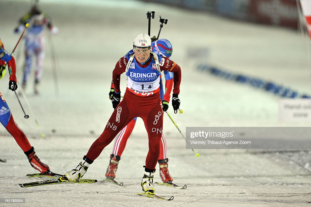 <a gi-track='captionPersonalityLinkClicked' href=/galleries/search?phrase=Tora+Berger&family=editorial&specificpeople=812729 ng-click='$event.stopPropagation()'>Tora Berger</a> of Norway 1st place during the IBU Biathlon World Championship Women's 4x6km Relay on February 15, 2013 in Nove Mesto, Czech Republic.