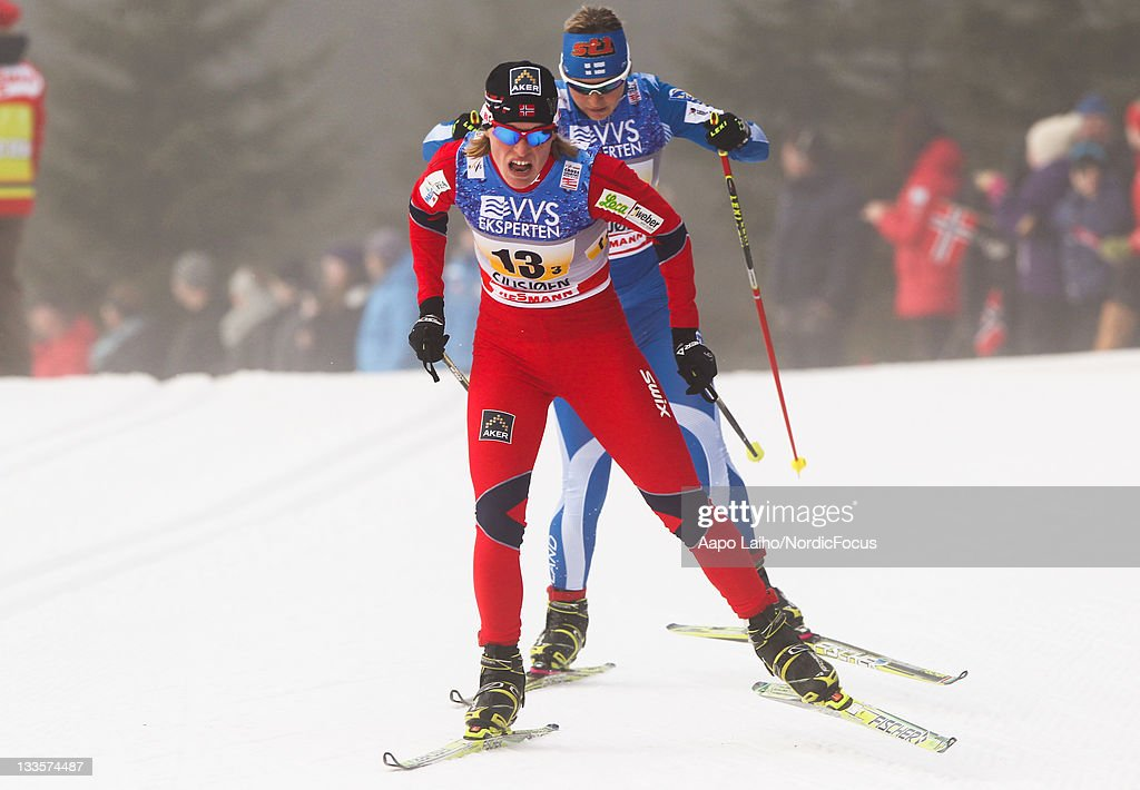 <a gi-track='captionPersonalityLinkClicked' href=/galleries/search?phrase=Tora+Berger&family=editorial&specificpeople=812729 ng-click='$event.stopPropagation()'>Tora Berger</a> of Norway and <a gi-track='captionPersonalityLinkClicked' href=/galleries/search?phrase=Riitta-Liisa+Roponen&family=editorial&specificpeople=4173513 ng-click='$event.stopPropagation()'>Riitta-Liisa Roponen</a> of Finland (F-B) compete in the women's 4x5km Cross Country Skiing Relay during the FIS World Cup on November 20, 2011, in Sjusjoen, Norway.