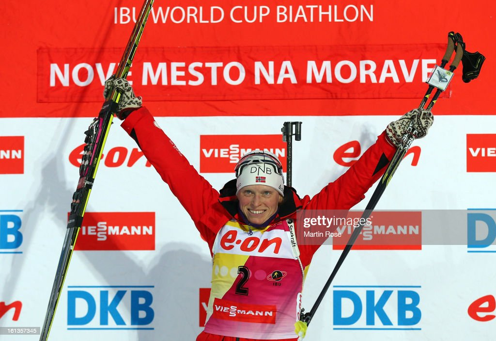 <a gi-track='captionPersonalityLinkClicked' href=/galleries/search?phrase=Tora+Berger&family=editorial&specificpeople=812729 ng-click='$event.stopPropagation()'>Tora Berger</a> of Norway celebrate her gold medal after winning in the women's 10km pursuit event during the IBU Biathlon World Championships at Vysocina Arena on February 10, 2013 in Nove Mesto na Morave, Czech Republic.