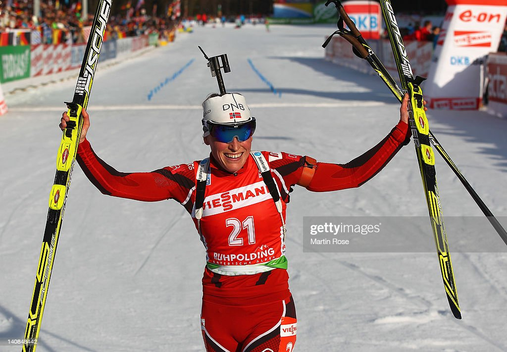<a gi-track='captionPersonalityLinkClicked' href=/galleries/search?phrase=Tora+Berger&family=editorial&specificpeople=812729 ng-click='$event.stopPropagation()'>Tora Berger</a> of Norway celebrates after winning the gold medal in the Women's 15km Individual during the IBU Biathlon World Championships at Chiemgau Arena on March 7, 2012 in Ruhpolding, Germany.