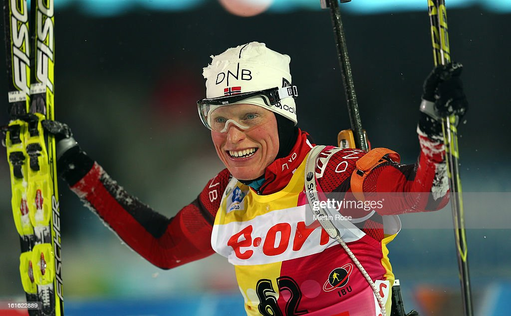 Tora Berger of Norway celebrates after winning the gold medal in the Women's 15km Individual during the IBU Biathlon World Championships at Vysocina Arena on February 13, 2013 in Nove Mesto na Morave, Czech Republic.