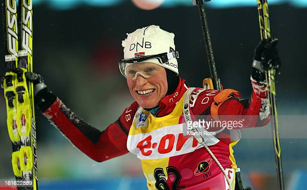 Tora Berger of Norway celebrates after winning the gold medal in the Women's 15km Individual during the IBU Biathlon World Championships at Vysocina...