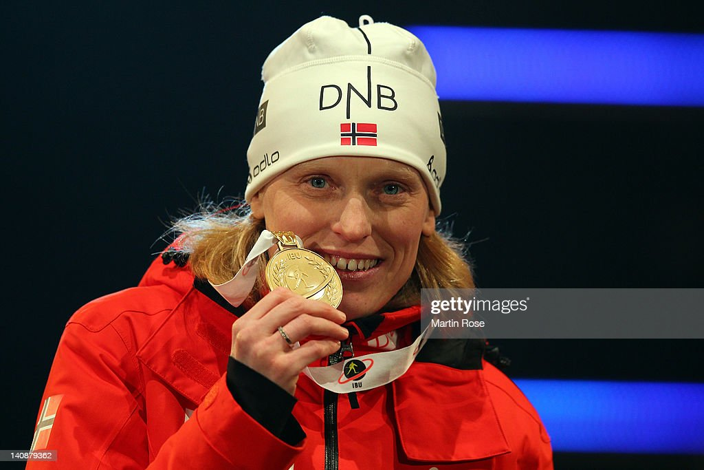 Tora Berger of Norway celebrates with her Gold medal for the Women's 15km Individual at the medal ceremony during the IBU Biathlon World...