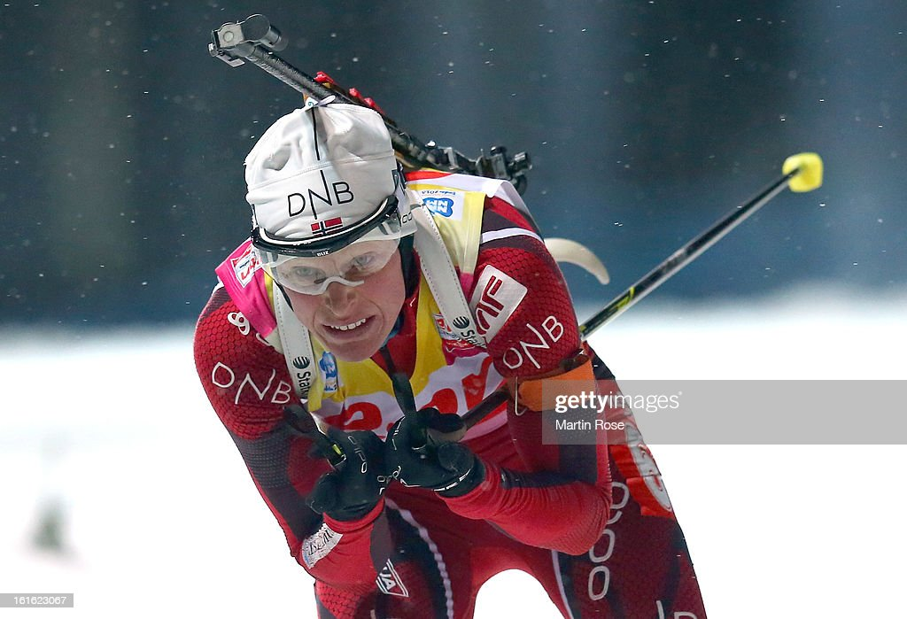 Tora Berger of Norway competes in the Women's 15km Individual during the IBU Biathlon World Championships at Vysocina Arena on February 13, 2013 in Nove Mesto na Morave, Czech Republic.