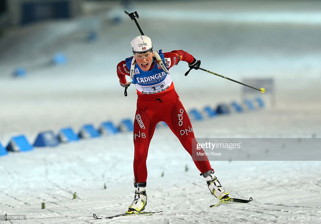 <a gi-track='captionPersonalityLinkClicked' href=/galleries/search?phrase=Tora+Berger&family=editorial&specificpeople=812729 ng-click='$event.stopPropagation()'>Tora Berger</a> of Norway competes in the Women's 4 x 6km Relay in the IBU Biathlon World Championships at Vysocina Arena on February 15, 2013 in Nove Mesto na Morave, Czech Republic.