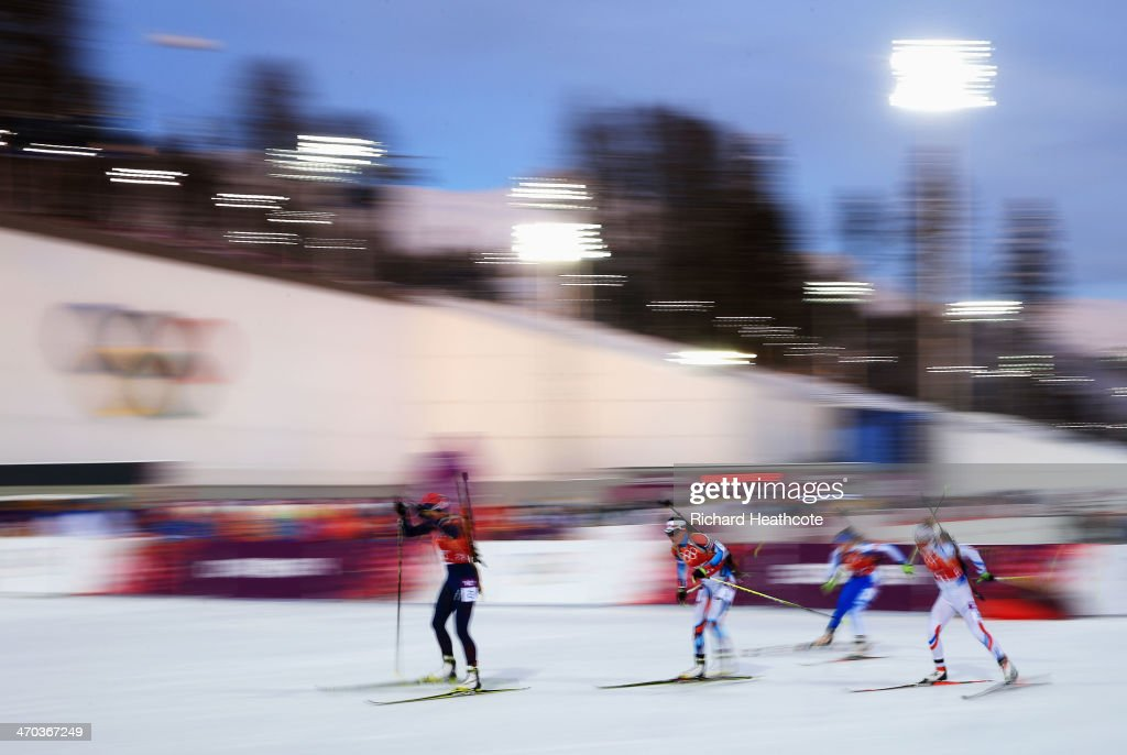 <a gi-track='captionPersonalityLinkClicked' href=/galleries/search?phrase=Tora+Berger&family=editorial&specificpeople=812729 ng-click='$event.stopPropagation()'>Tora Berger</a> of Norway leads the field in the 2 x 6 km Women + 2 x 7 km Men Mixed Relay during day 12 of the Sochi 2014 Winter Olympics at Laura Cross-country Ski & Biathlon Center on February 19, 2014 in Sochi, Russia.