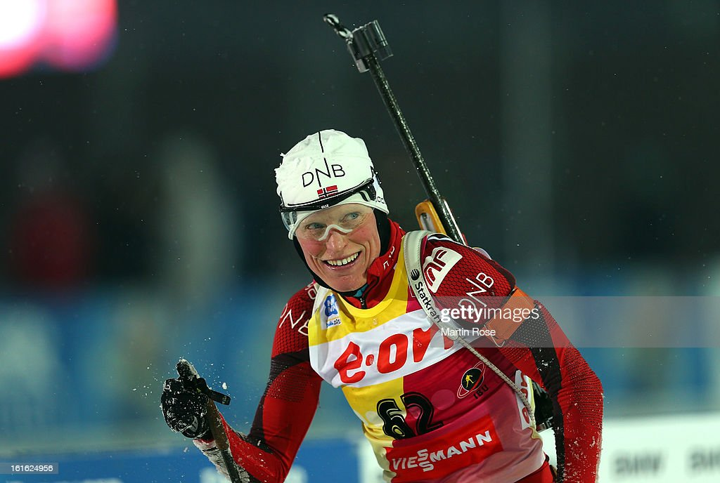 Tora Berger of Norway reacts after crossing the finish line in the Women's 15km Individual during the IBU Biathlon World Championships at Vysocina Arena on February 13, 2013 in Nove Mesto na Morave, Czech Republic.