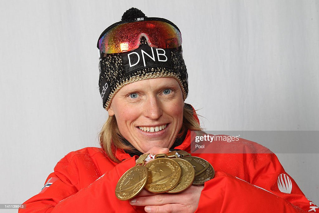 <a gi-track='captionPersonalityLinkClicked' href=/galleries/search?phrase=Tora+Berger&family=editorial&specificpeople=812729 ng-click='$event.stopPropagation()'>Tora Berger</a> of Norway shows her medals of the IBU Biathlon World Championships Women's Mass Start on March 11, 2012 in Ruhpolding, Germany.