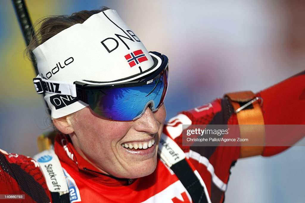 <a gi-track='captionPersonalityLinkClicked' href=/galleries/search?phrase=Tora+Berger&family=editorial&specificpeople=812729 ng-click='$event.stopPropagation()'>Tora Berger</a> of Norway takes 1st place during the IBU Biathlon World Championships Women's Distance on March 07, 2012 in Ruhpolding, Germany.