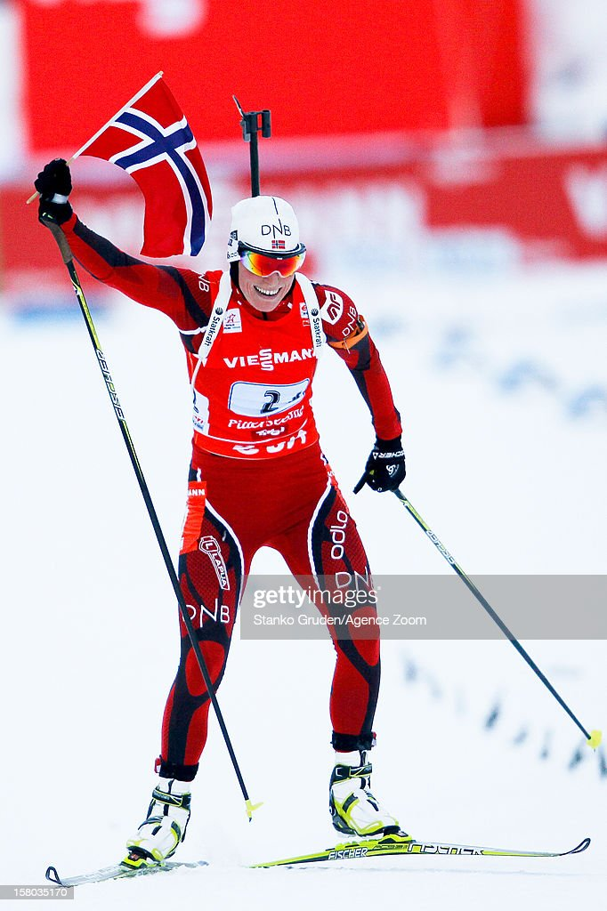 <a gi-track='captionPersonalityLinkClicked' href=/galleries/search?phrase=Tora+Berger&family=editorial&specificpeople=812729 ng-click='$event.stopPropagation()'>Tora Berger</a> of Norway takes 1st place during the IBU Biathlon World Cup WomenÕs Relay on December 09, 2012 in Hochfilzen, Austria.