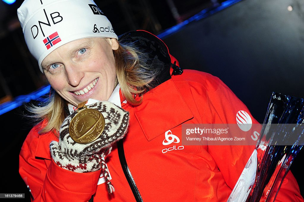 Tora Berger of Norway takes 1st place during the IBU Biathlon World Championship Women's 10km Pursuit on February 10, 2013 in Nove Mesto, Czech Republic.