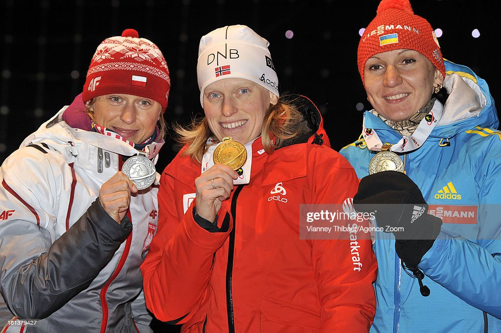 Tora Berger of Norway takes 1st place, Krystyna Palka of Poland takes 2nd place, Olena Pidhrushna of Ukraine takes 3rd place during the IBU Biathlon World Championship Women's 10km Pursuit on February 10, 2013 in Nove Mesto, Czech Republic.