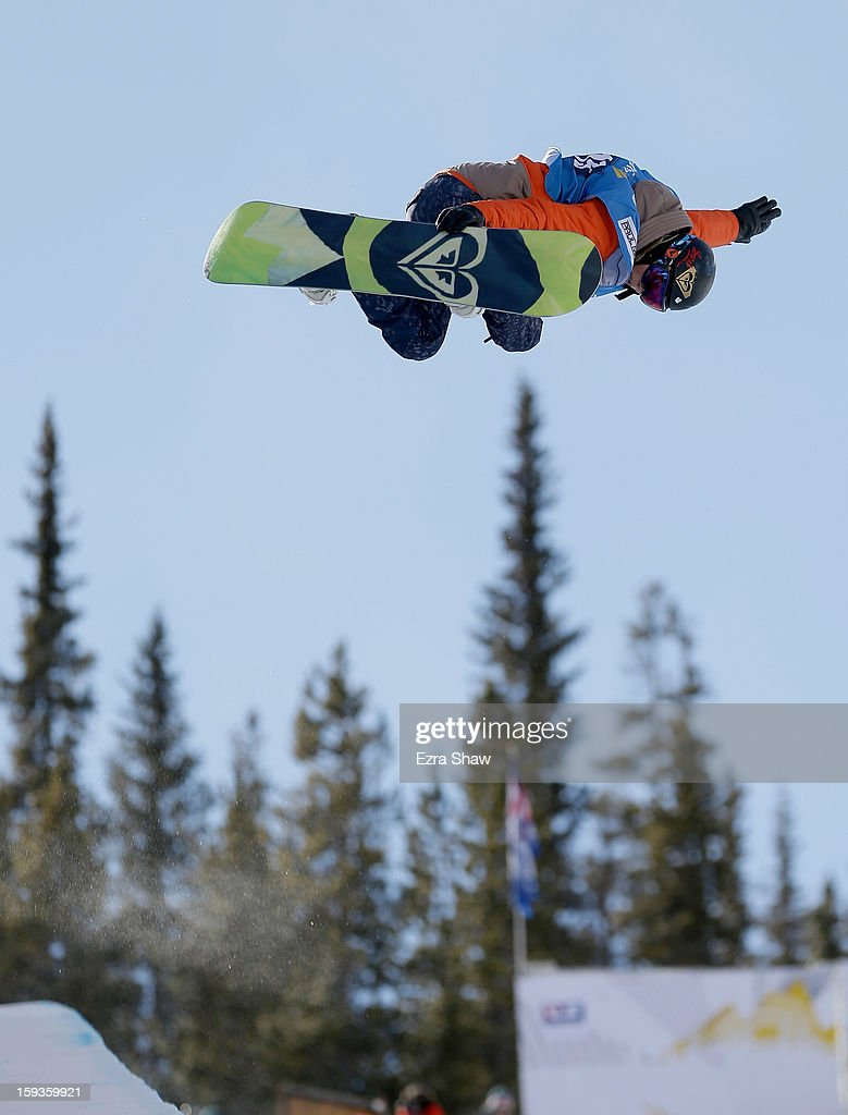 Torah Bright of Australia comptes in the FIS Snowboard World Cup Half Pipe ladies' final at the US Grand Prix on January 12, 2013 in Copper Mountain, Colorado. Bright won the event.