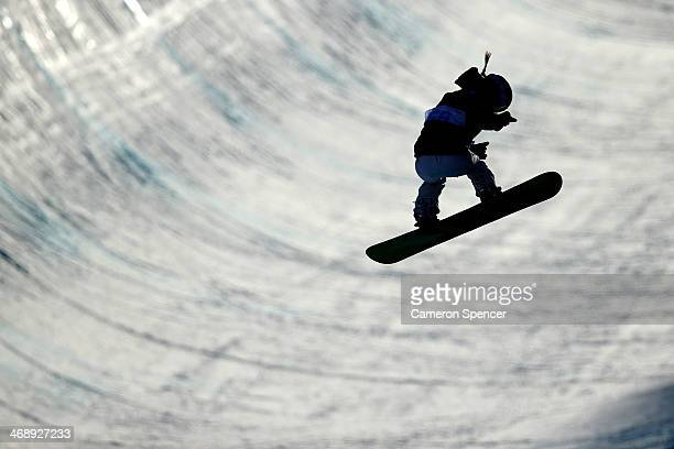 Torah Bright of Australia practices before the Snowboard Women's Halfpipe Qualification Heats on day five of the Sochi 2014 Winter Olympics at Rosa...
