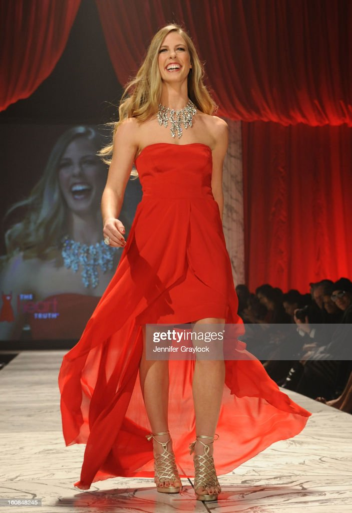 Torah Bright wearing Nicole Miller on the runway during The Heart Truth 2013 Fashion Show held at the Hammerstein Ballroom on February 6, 2013 in New York City.