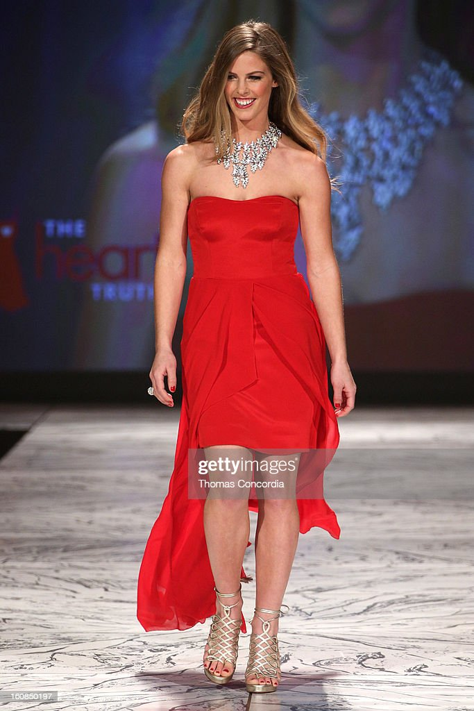 Torah Bright wearing Nicole Miller walks the runway at The Heart Truth's Red Dress Collection during Fall 2013 Mercedes-Benz Fashion Week at Hammerstein Ballroom on February 6, 2013 in New York City.