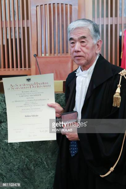 Toray Industries inc's CEO Akihiro Nikkaku attends a ceremony to receive an Honoris Causa Master degree in Engineering in the University of Naples