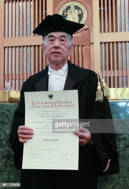 Toray Industries inc's CEO Akihiro Nikkaku attends to a ceremony to receive the Honoris Causa Master graduation in Engineering in the University of...
