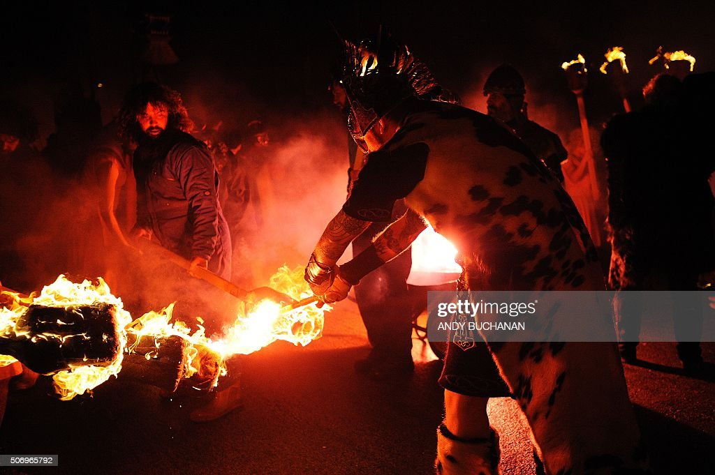 Torches are lit by oarticipants dressed as Vikings during the annual Up Helly Aa festival in Lerwick Shetland Islands on January 26 2016 Up Helly Aa...