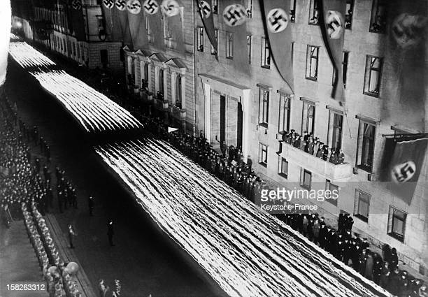 Torchlight procession in front of the chancellery during the military parade for the celebration of the 50th birthday of Adolf Hitler on April 20...