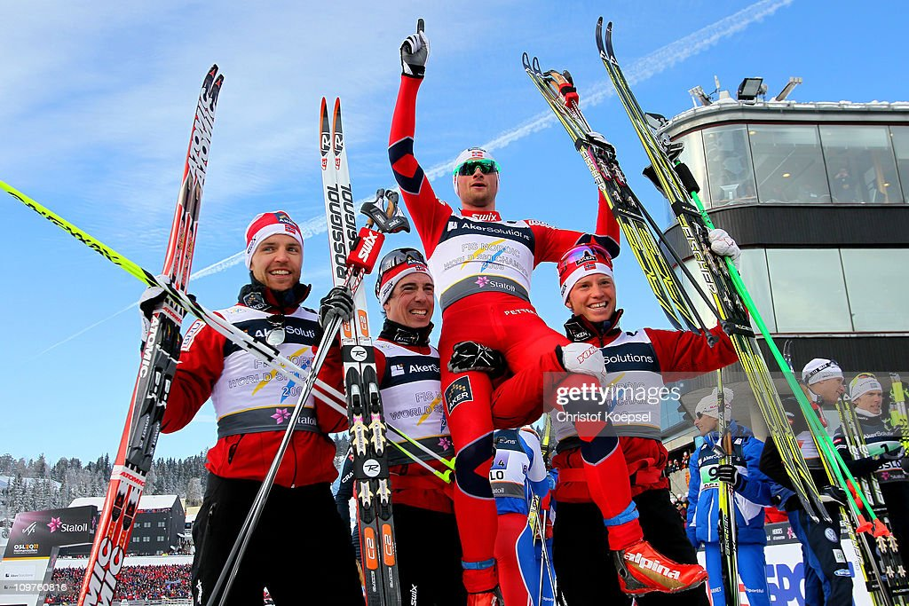 <a gi-track='captionPersonalityLinkClicked' href=/galleries/search?phrase=Tord+Asle+Gjerdalen&family=editorial&specificpeople=2093175 ng-click='$event.stopPropagation()'>Tord Asle Gjerdalen</a>, <a gi-track='captionPersonalityLinkClicked' href=/galleries/search?phrase=Eldar+Roenning&family=editorial&specificpeople=802581 ng-click='$event.stopPropagation()'>Eldar Roenning</a>, <a gi-track='captionPersonalityLinkClicked' href=/galleries/search?phrase=Petter+Northug&family=editorial&specificpeople=800847 ng-click='$event.stopPropagation()'>Petter Northug</a> and <a gi-track='captionPersonalityLinkClicked' href=/galleries/search?phrase=Martin+Johnsrud+Sundby&family=editorial&specificpeople=4668146 ng-click='$event.stopPropagation()'>Martin Johnsrud Sundby</a> of Norway celebrate after winning the gold medal in the Men's Cross Country 4x10km Relay race during the FIS Nordic World Ski Championships at Holmenkollen on March 4, 2011 in Oslo, Norway.