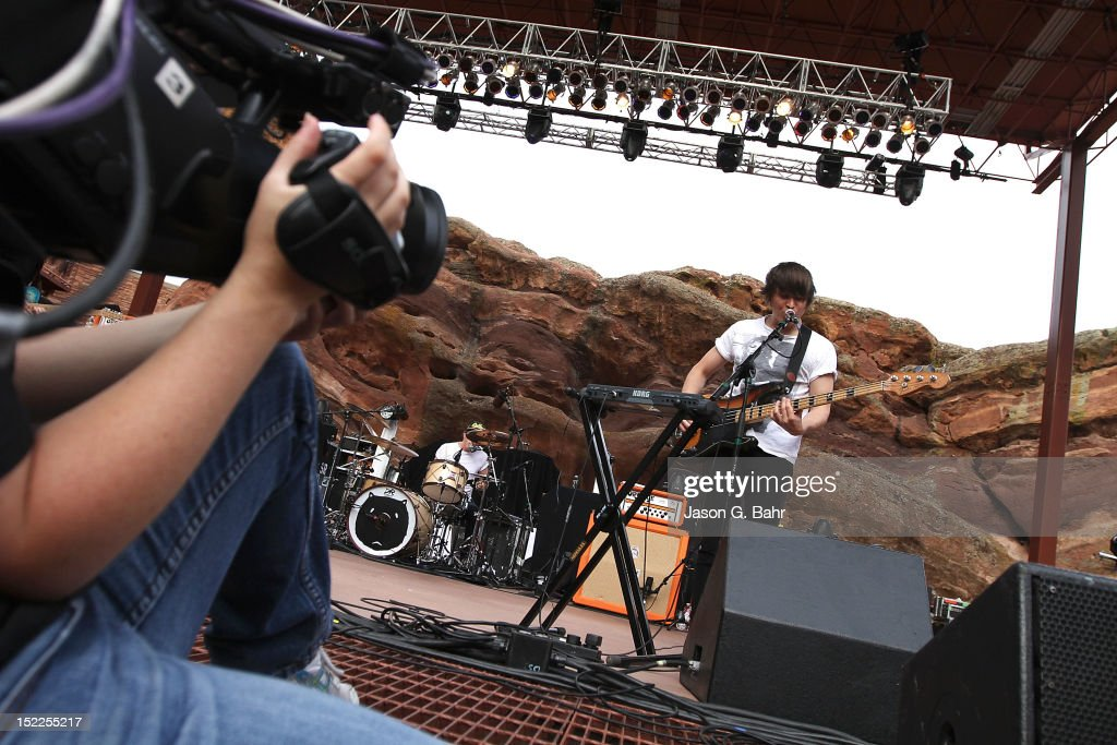 Tord Overland-Knudsen (bass guitar) performs with The Wombats at Red Rocks Amphitheatre on September 16, 2012 in Morrison, Colorado.