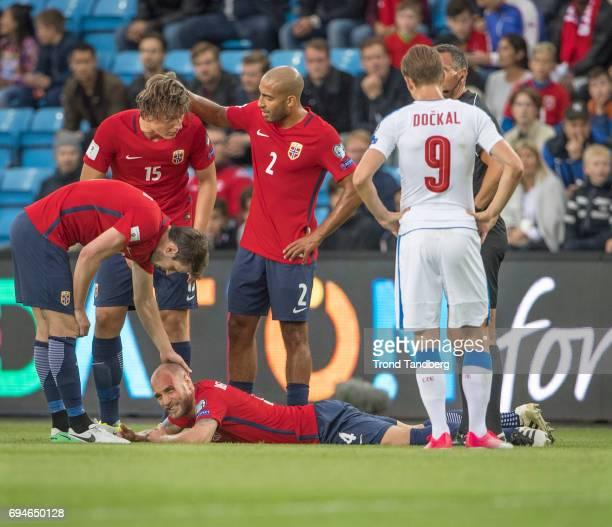 Tore Reginiussen Haitam Aleesami Sander Gard Bolin Berge of Norway during the FIFA 2018 World Cup Qualifier between Czech Republic v Norway at...