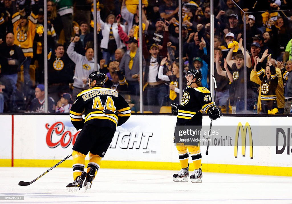 Torey Krug #47 of the Boston Bruins celebrates a second period goal against the New York Rangers during Game Five of the Eastern Conference Semifinals of the 2013 NHL Stanley Cup Playoffs on May 25, 2013 at TD Garden in Boston, Massachusetts.