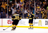 Torey Krug of the Boston Bruins celebrates a second period goal against the New York Rangers during Game Five of the Eastern Conference Semifinals of...