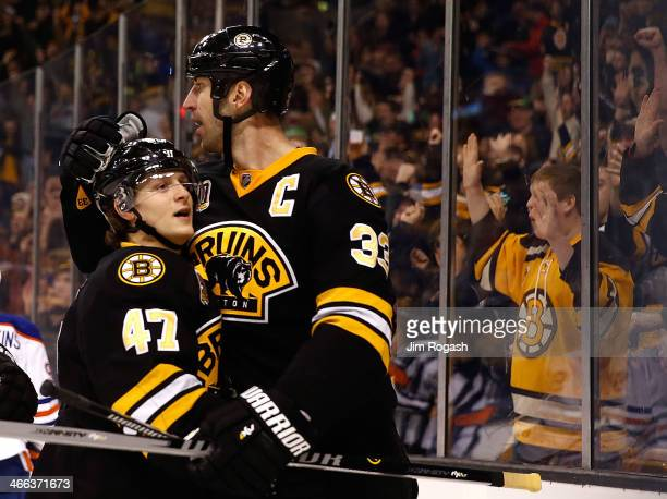 Torey Krug of the Boston Bruins celebrates his goal with Zdeno Chara against the Edmonton Oilers in the 3rd period at TD Garden on February 1 2014 in...