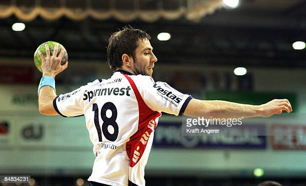 Torge Johannsen of Flensburg in action during the Bundesliga Handball match between SG FlensburgHandewitt and MT Melsungen at the Campushalle on...