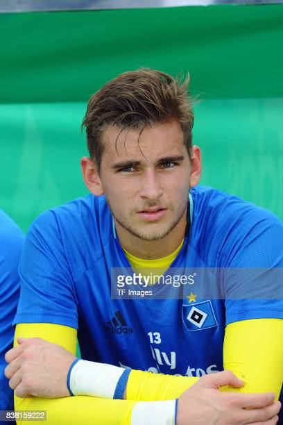 Torhüter Julian Pollersbeck of Hamburg looks on during the DFB Cup match between VfL Osnabrueck and Hamburger SV at Osnatel Arena on August 13 2017...