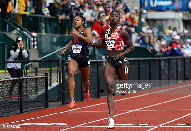 Tori Bowie crosses the finishline to place first in the Women's 200 Meter Final during the 2016 US Olympic Track Field Team Trials at Hayward Field...