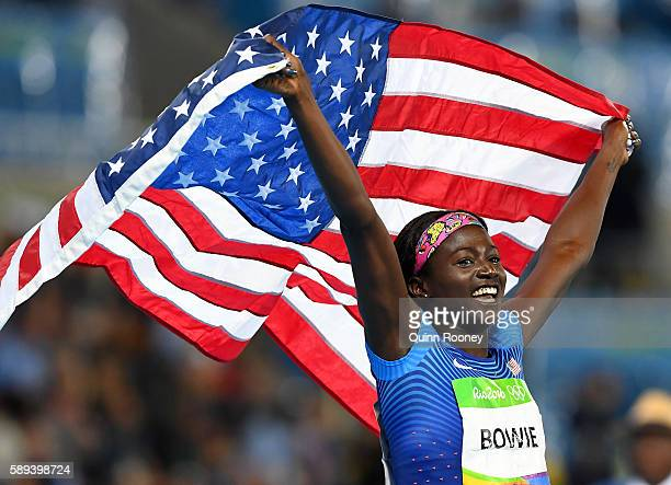 Tori Bowie of the United States celebrates after the Women's 100m Final on Day 8 of the Rio 2016 Olympic Games at the Olympic Stadium on August 13...