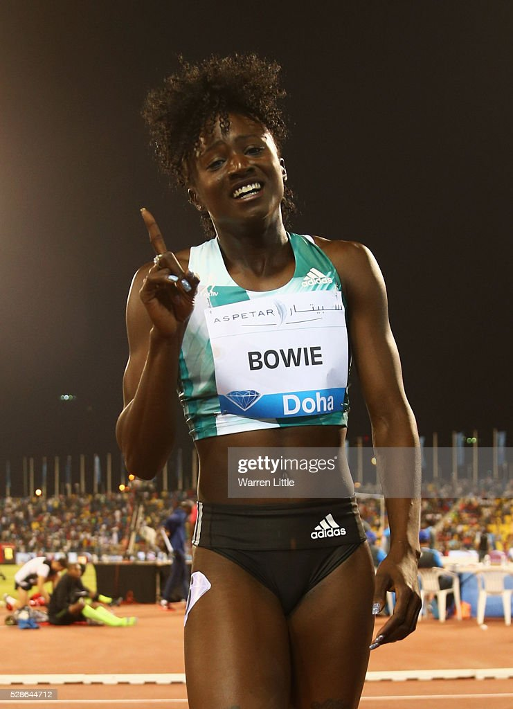 Tori Bowie of the United States celebrates victory after the Women's 100 metres final during the Doha IAAF Diamond League 2016 meeting at Qatar Sports Club on May 6, 2016 in Doha, Qatar.