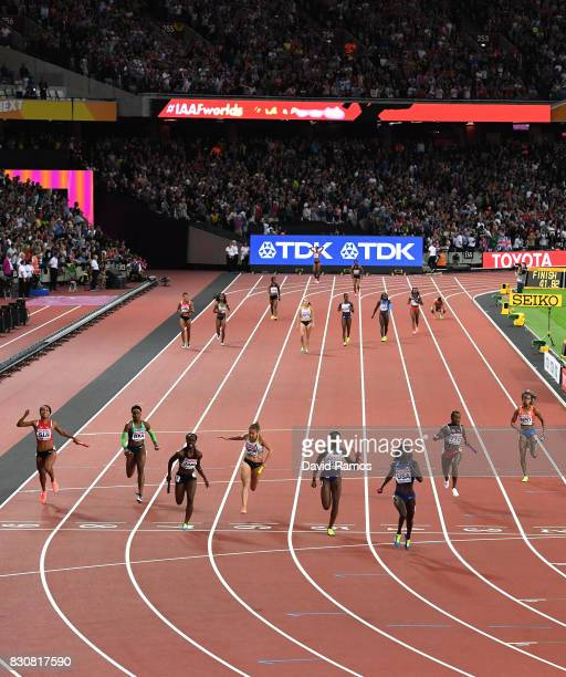Tori Bowie of the United States Daryll Neita of Great Britain Sashalee Forbes of Jamaica and Rebakka Haase of Germany compete in the Women's 4x100...