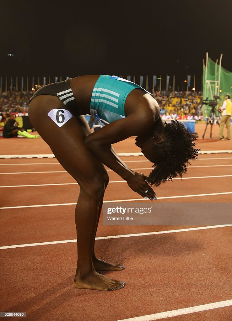 Tori Bowie of the United States reacts after victory in the Women's 100 metres final during the Doha IAAF Diamond League 2016 meeting at Qatar Sports Club on May 6, 2016 in Doha, Qatar.
