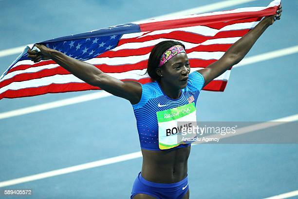 Tori Bowie of USA celebrates after winning silver medal after the Women's 100m Final of the Rio 2016 Olympic Games at the Olympic Stadium in Rio de...