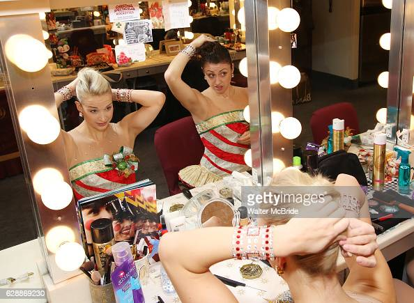 Tori Gregson and Elizabeth Sousek from the Radio City Rockettes backstage in their dressing room before starring in 'The Christmas Spectacular' at...