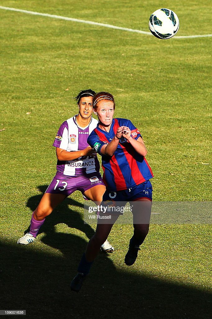 Tori Huster of Sydney heads the ball during the round 11 W-League match between the Perth Glory and the Newcastle Jets at Intiga Stadium on January 5, 2013 in Perth, Australia.