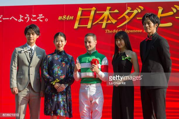 Tori Matsuzaka Mitsuki Takahata Jockey Christophe Lemaire Tao Tsuchiya and Yuya Yagira at the Tokyo Yushun Japanese Derby presentation ceremony at...