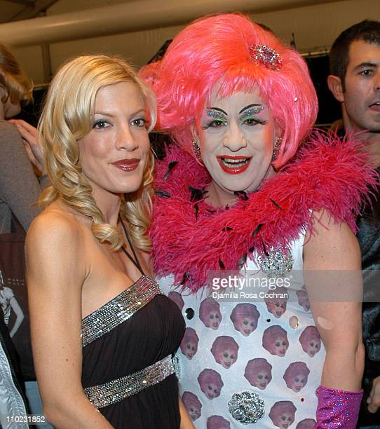 Tori Spelling and Brenda AGoGo during Olympus Fashion Week Fall 2005 Heatherette Backstage at The Atelier Bryant Park in New York City New York...